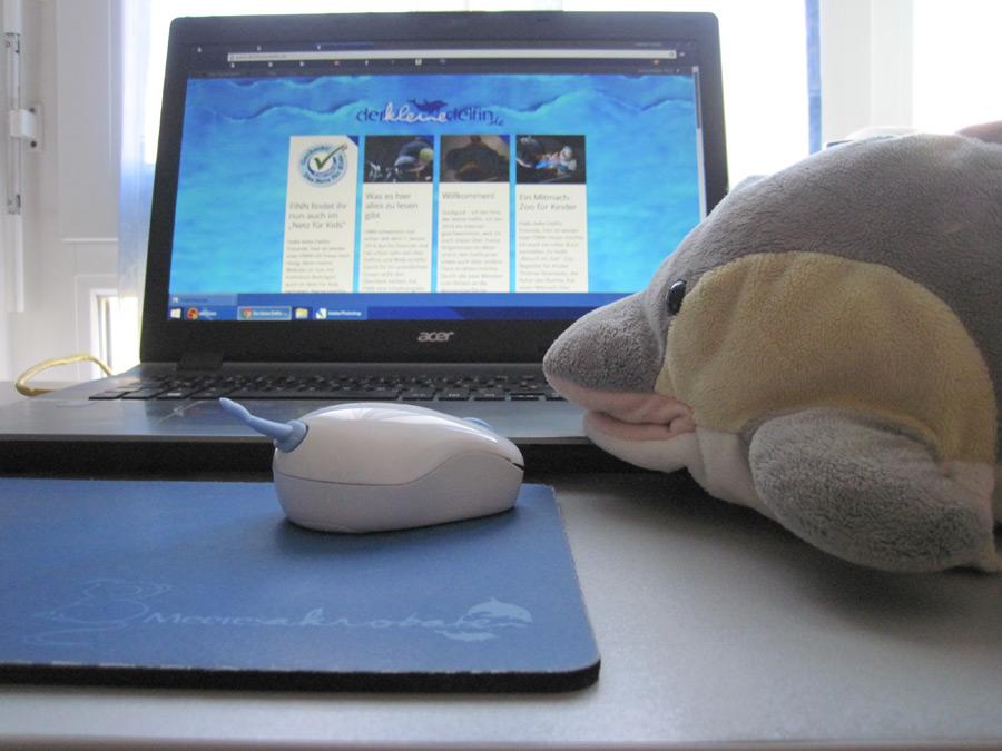 FINN mit seiner Delfin-Maus (Foto: Susanne Gugeler)